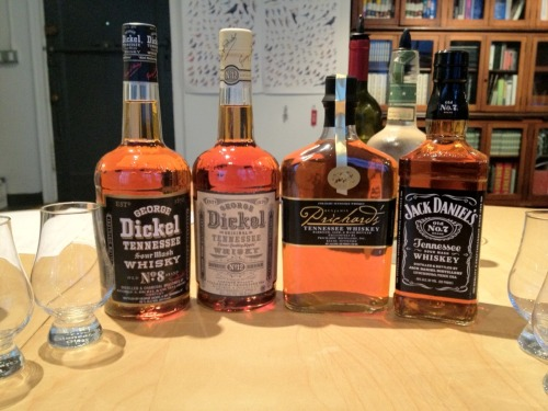 We poured four whiskies from three Tennessee distilleries at our Tuesday tasting last eve: George Dickel No. 8 (80 proof), George Dickel No. 12 (90 proof), Prichard's (80 proof), and Jack Daniels Old No. 7 (80 proof). No huge surprises with these selections: plenty of sweetness and oak wood, cherry, slight citrus, and honey corn. Few high floral notes on any of these whiskies. The Dickel No. 12 at 90 proof had good depth and complexity.  Interesting night. Fun to try Jack Daniels after so many weeks of whiskies from all over the country. Millions and millions of cases come out of Lynchburg every year and Jack stays pretty much Jack: the most popular whiskey in the USA…maybe the world?