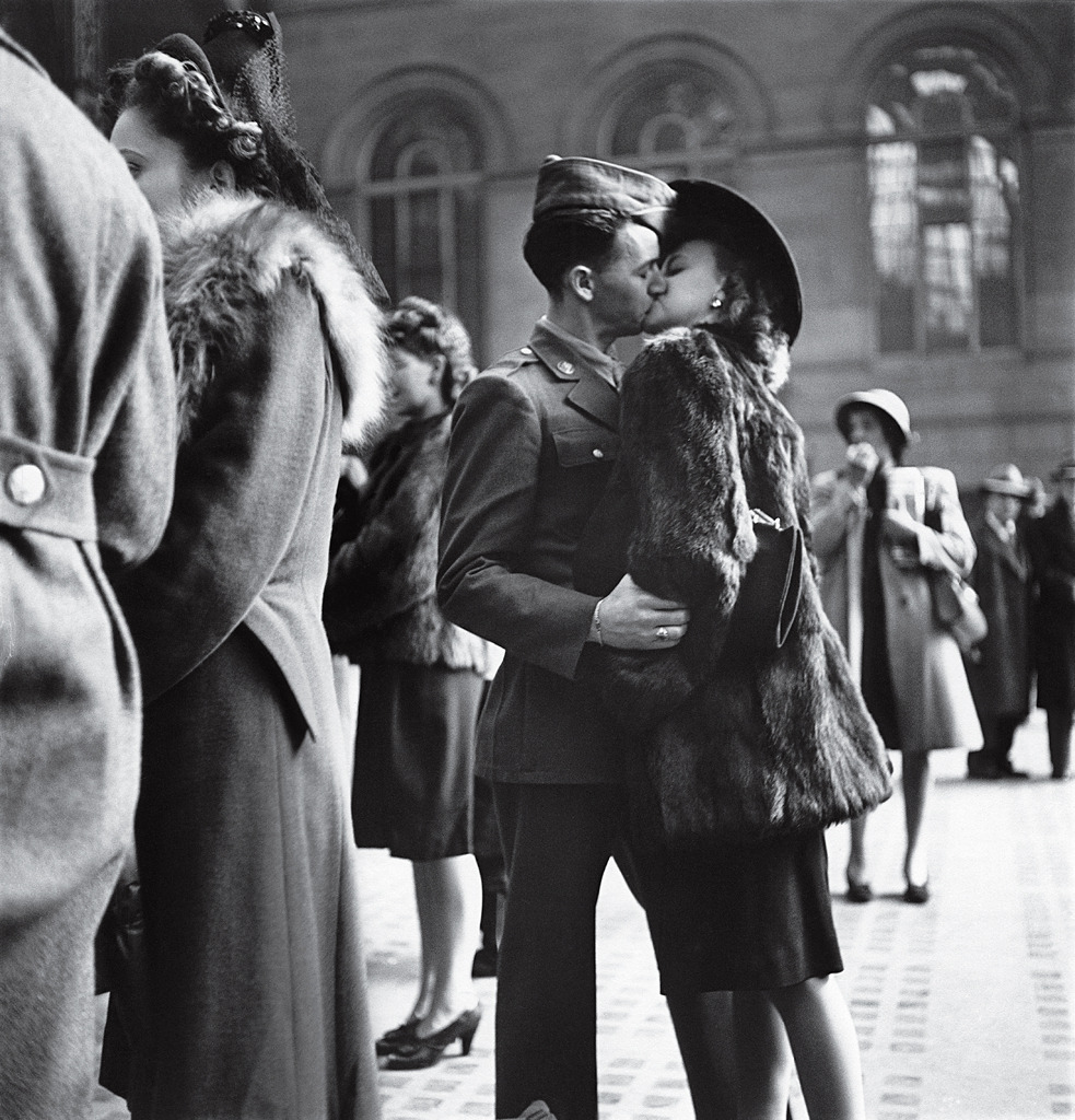 life:  In 1944, LIFE's Alfred Eisenstaedt captured a private moment repeated in public millions of times over the course of the war: a guy, a girl, a goodbye — and no assurance that he'll make it back. By war's end, more than 400,000 American troops had been killed. See more photos here.