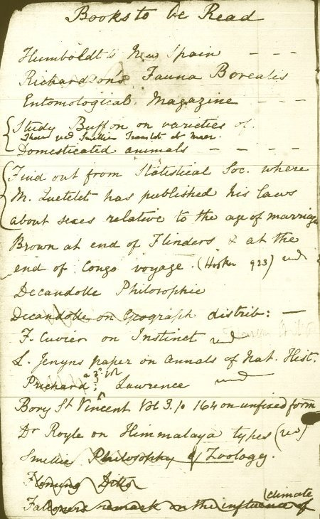 "fuckyeahmanuscripts:  amandaonwriting:  Charles Darwin's Pocket Notebook  ""Books to be Read"""