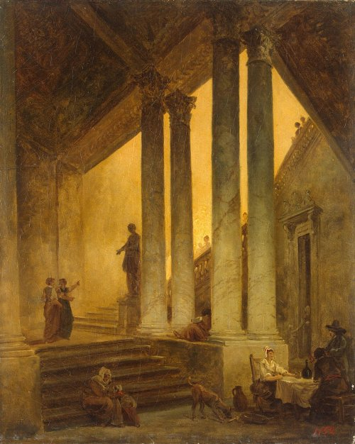 poboh:  Staircase with Columns, Hubert Robert. French (1733 - 1808)