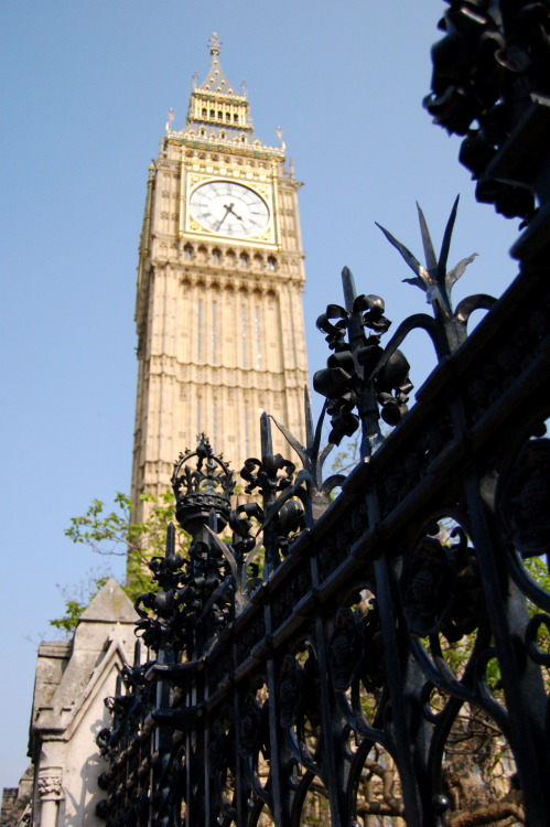 """Big Ben"" clock tower in the parliament district. Westminster, London."