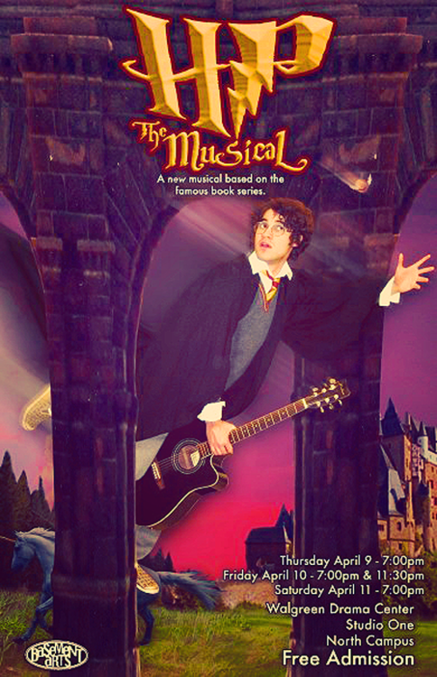 This is the original poster for 'A Very Potter Musical'. This was back when it was still called 'Harry Potter the Musical' but as we all know they had to change the name of the musical to avoid being sued. But how awesome is Darren on his guitar broomstick!? :D