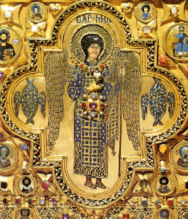 acheiropoietos:  Archangel Michael From the church of the Monastery of Christ Pantokrator, Constantinople, 12th cent. CE, relocated during the Fourth Crusade to the Pala d'Oro, Venice