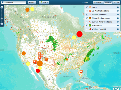 """A continuously updated map of US wildfire locations, perimeters, fire potential areas, global burn areas, and precipitation.""  Includes a layer for social media, which includes your flickr, youtube uploads, and tweets."