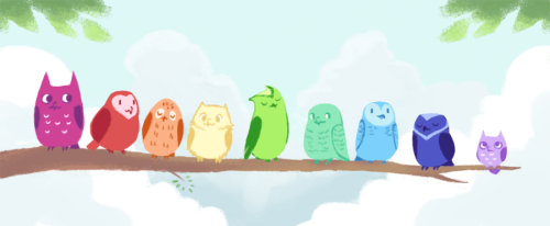 freesoul1705:  Rainbow Owls by *life-take  so cute :)