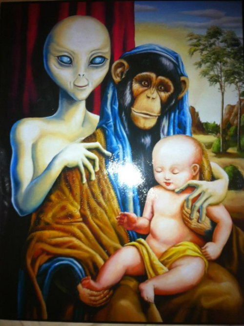 Alien Chimp and Baby Painting This picture will really tie the room together.