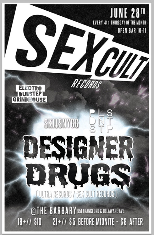 Promotional poster for SEX CULT,  a new monthly nightlife event in Philadelphia, PA