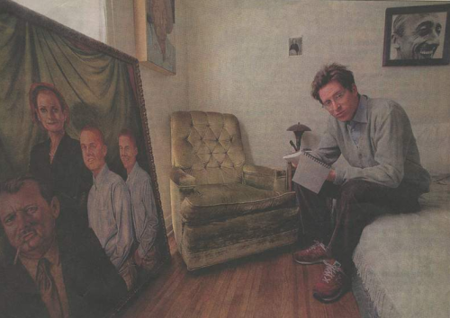 roseofcimarron:  Wes Anderson photographed for the Los Angeles Times in 1998 Note the painting from Rushmore and the Jacques Costeau photo on the wall (years before he made The Life Aquatic).