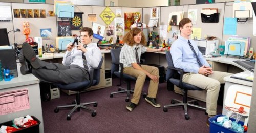 comedycentral:  Workaholics' Blake Anderson, Adam DeVine, and Anders Holm | The A.V. Club  AVC: Was there anything you definitely didn't want to do on the show? AH: I didn't want to reference Star Wars. Whenever I watch a show and twentysomethings have a lot of Star Wars references, I know it's written by a 40-year-old dude. Like, a shitload of kids at his house. I don't know, it seems fake.  BA: It's Avatar, biatch! AD: Yep, Avatar all day. AH: We're Avatar, it's going to be a lot of Avatar-heavy references. No, we have a lot of Lord Of The Rings references. I don't know, it just seems like Star Wars always seems dated when I see, like, twentysomethings talking about it like it was the best thing that ever happened to them. AD: We didn't really want it to be an office show. We wanted it to be about these three guys who live together and work together, and they just happen to work together in the same office and everything. We didn't want it to be, like, every story has to revolve around the office. You know, it's about these guys fresh out of college and in their life and the adventures they go on. AH: Like Curb Your Enthusiasm isn't about showbiz; it's about Larry David and Jeff Garlin. It's about the relationship between those two guys and the trouble they get into, and they just happen to work in Hollywood.