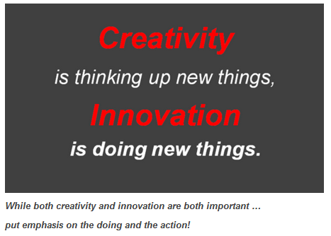 Creativity is not the same as innovation, though they are obviously related. Put emphasis on the doing.