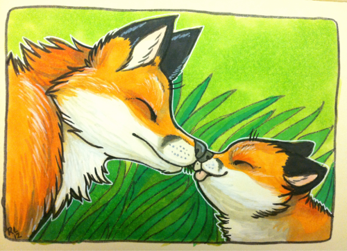 Baby foxes are probably the cutest. And fox moms are too…so I drew this for funzies.