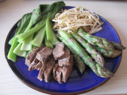 Ginger and lime steak with spicy grilled pak choy, asparagus and bean sprouts  Yesterday I bought some reduced beef medallions and because they can be quite a tough cut of meat, I thought I would experiment with some acidic marinades to break down the toughness.   This piece had been marinating in about 2tbsp lime juice, some pureed ginger and a tbsp of soy sauce for 24hrs. It was DELIGHTFUL. Grill it first for about 5minutes and then you can let it rest whilst the vegetables are cooking. When I'm doing vegetables, I always splash some water onto the hot grill to create steam. With these beauties, I also chopped up a red chilli, some more ginger and a garlic clove to mix with the water and so flavour the veg which took about 5minutes. Then you can drizzle some soy sauce on it all at the end!   Grill love