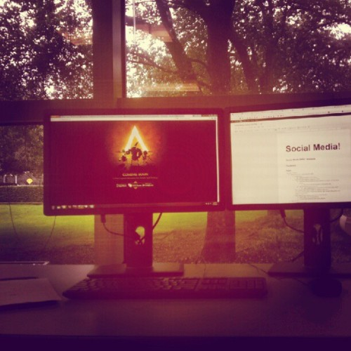 my Spacetime Studios desk view. (Taken with instagram)