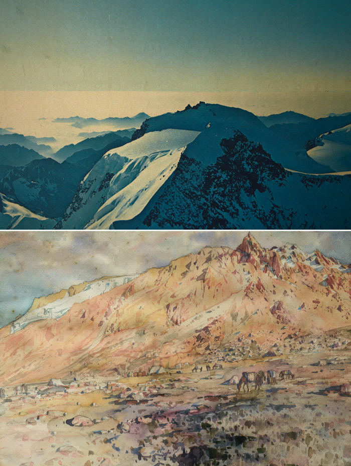 Detail of 1970s Panoramic Swiss Alps Print, Framed, 102 x 15 Inches, (sold)1920s Caucasus Mountains Watercolor, Framed, 13 x 10 Inches, $275