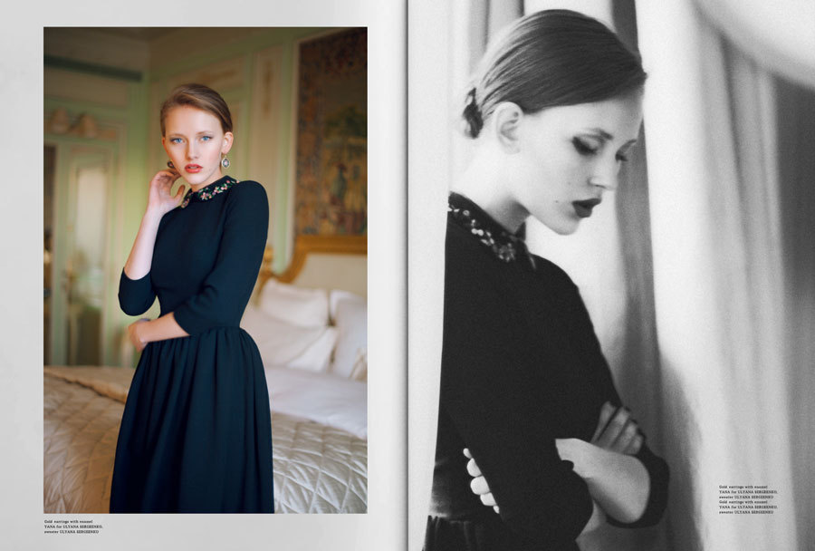 Alina Krasina @ Avant Models. Wearing dress and earrings by ULYANA SERGEENKO S/S 2012. Ritz Hotel. Paris.