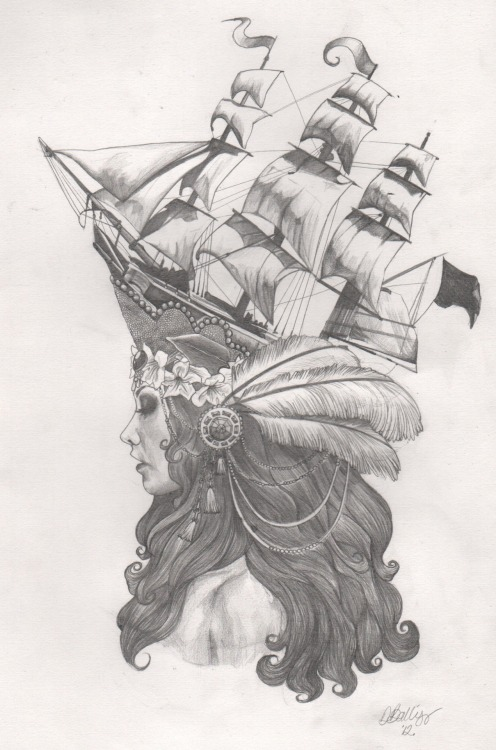 loveraccoons:  Marie Antoinette Ship Hat inspired Tattoo Design I've really enjoyed this project, not only because it was for a friend, but also because it was so good to get my teeth into some detail! All elements relate to not only my friends tastes, but also the heritage of Marie Antoinette.  Integrated into her head band is Jasmine, which is said to have been one of Marie's favourite flowers and wore it in her perfume. I have included plume feathers - my friends favourite type of feather and also the symbol of royalty. I tried to mix together 1920's head decorations, whilst creating the hair to be like the waves that the ship sits upon.