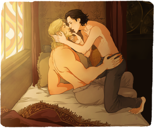 "nellafantasiaa:  ThorLoki \( * - * )/  I haven't actually read that many Thorki fics… I just really like how much contrast there is between the two of them. * u * Okay so. I just have this one psd. file titled 'okay then' that I always use for drawing questionable things. This is my latest ""made in 'okay then'"". oH. Well, at least they're wearing pants.  For now."
