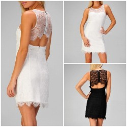 Shop Open Back Lace Dress @ www.mickeysgirl.com #lace #dress #dress #clothes #cute #girl #store #online #love #beautiful #chic #black #white #cutout #openback #back #summer