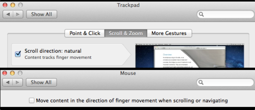 "What I want: my Magic Trackpad to do ""natural"" (i.e. reversed) scrolling while my new mouse does ""traditional"" (i.e. down-is-down) scrolling.  What Apple gives me: two dialog options that appear to allow me to do exactly what I want. One is in the ""Mouse"" section of System Preferences; the other in the ""Trackpad"" section.  Why this doesn't work: when you select one checkbox, the other one changes. Despite being two checkboxes in different parts of the UI, they appear to reflect the same behind-the-scenes value.  I deem this to be shit. It's downright crap to have one value over here changing the value of something else over there. Why even have two checkboxes to present one value? Nothing but user confusion can result. Isn't Apple supposed to be really really good at not confusing the users? At being logical and consistent and well thought out?  Grrr.  Update: Pilotmoon's Scrollreverser is a piece of freeware that solves this problem neatly and effortlessly (although it does introduce another icon into your menu bar, if you're bothered by that sort of thing, and it also disables the three-finger-tap to bring up the Dictionary app. Sadface.) I still think Apple's dialog is shite, though."