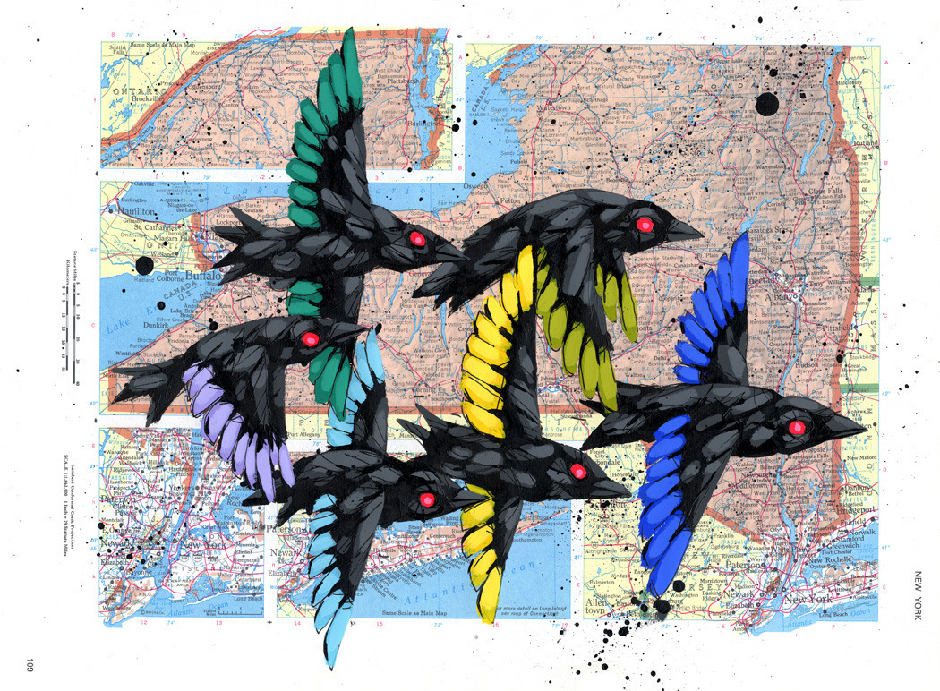 ricstultz:  Flying Our Colorsgouache and ink on vintage atlas page, 2012ricstultz.com