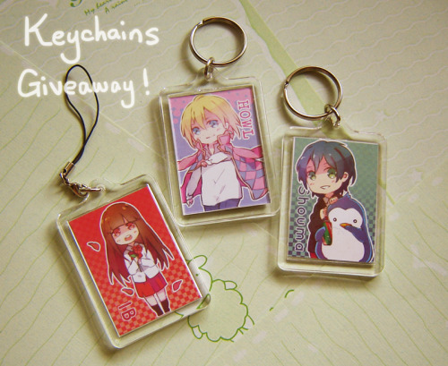 pearchu:  IN BETWEEN CONVENTION GIVEAWAY!  THREE winners. :) Each will receive 3 double sided keychains that look similar to the image above. Winners will be able to choose the images they want to be clipped into the case. (Click here for the master list of all the available designs) They come with the original keychain hoop + 3 mobile straps so you can use them for whichever purpose you like. Rules: 1) You have to be following either my artblog or mainblog, just one of the two is fine. 2) Both like and reblogs count. 3) You may reblog as many times as you like, however giveaway blogs are disqualified. 4) I ship internationally!  5) Keep your ask box open. 6) Giveaway ends on three weeks from now on June 20th. I will ship them out before I go to Anime Expo.