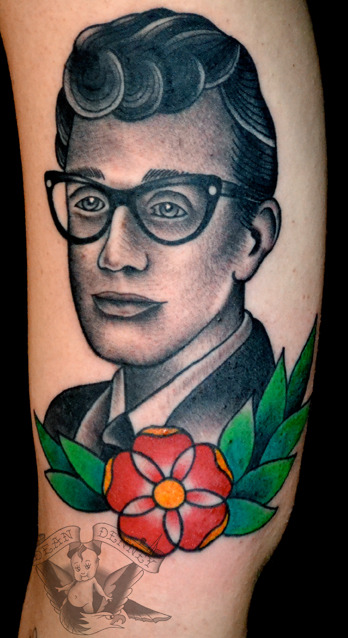 fuckyeahtattoos:  Buddy Holly!  I am mainly posting on Instagram, so follow @deandenney for more photos!  Thanks for looking.  Dean Denney  www.deanieweanie.com
