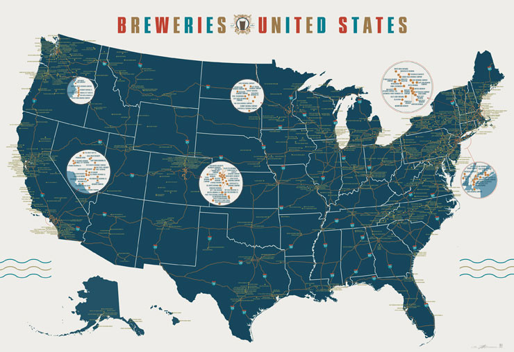 An incredibly precise and detailed map of the breweries of the United States. I tried to stump this map with some obscure Pennsylvania and Virginia breweries. I failed. (via Pop Chart Lab — Breweries of the United States)