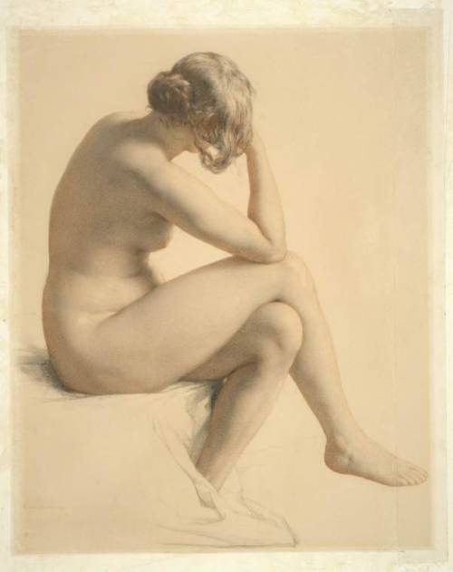 William Mulready Female nude seen in three-quarters from behind Black and red chalk on paper, medium paper, laid down 19th century
