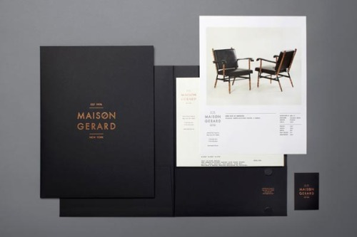 "Maison Gerard Identity design by Mother New York.  ""For the opening of their new gallery showroom on East 10th Street, we helped Maison Gerard communicate their contemporary edge with printed materials, typography and photography. The identity speaks to the tradition of the Deco period as well as to Maison Gerard's high-end clientele. We hope you enjoy it as much as we enjoyed working on it!""  via: WE AND THE COLORFacebook // Twitter // Google+ // Pinterest"