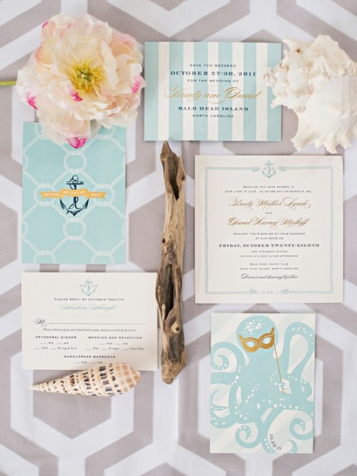 bride2be:  love these nautical inspired wedding invitations, especially the octopus with the masquerade mask