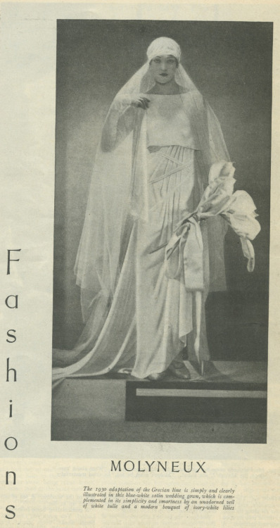 Molyneux wedding dress, 1930