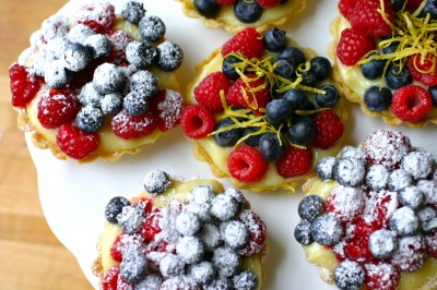 Lemon Curd Tartlets with Blueberries and Raspberries with recipe (link)
