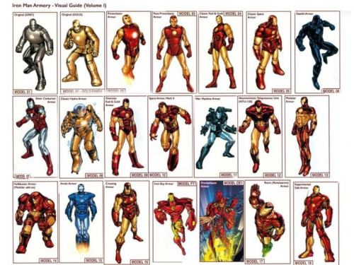 Iron Man's past armors. I hope the Hulkbuster makes it into the movies!!!