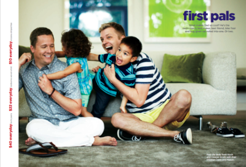 "benppollack:  JC Penney's new ad for Father's Day The text reads:  ""First Pals: What makes Dad so cool? He's the swim coach, tent maker, best friend, bike fixer and hug giver—all rolled into one. Or two."" The text at the bottom reads: ""Real-life dads, Todd Koch and Cooper Smith with their children Claire and Mason."""