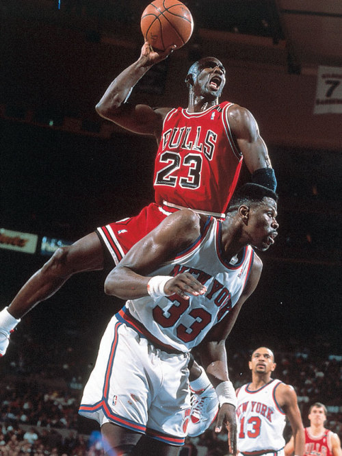 siphotos:  Michael Jordan powers over Patrick Ewing for a dunk during a 1991 Bulls-Knicks game. Jordan, who now owns the Bobcats, once again left Ewing frustrated after announcing the former Knicks center will not be the next Bobcats coach. Ewing interviewed for the position last week. (Nathaniel S. Butler/NBAE/Getty Images) GALLERY: Rare Photos of Michael Jordan | Patrick Ewing