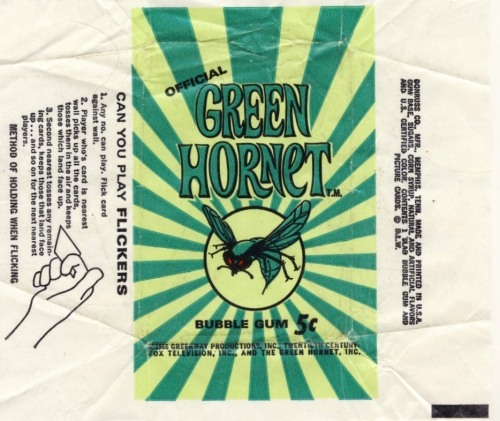 The Green Hornet Gum Card wrapper (1966)