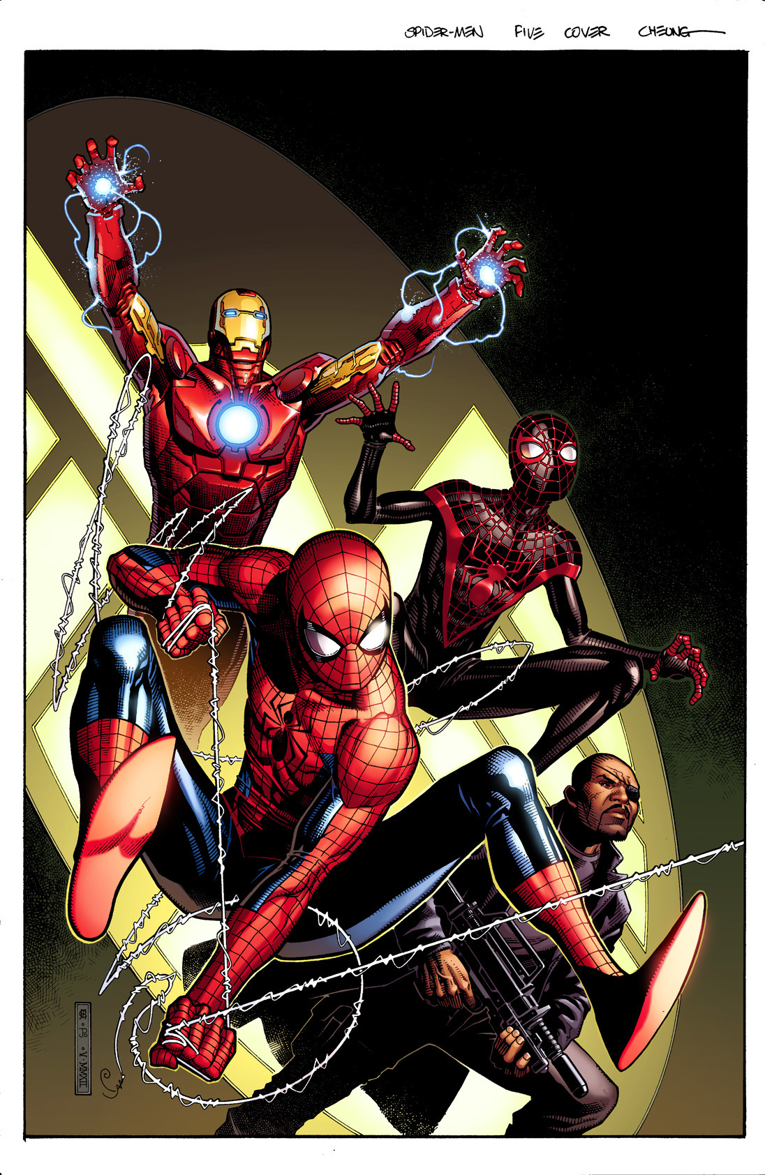 brianmichaelbendis:  tumbler exclusive! Spider-men 5 cover by cheung and posner!!