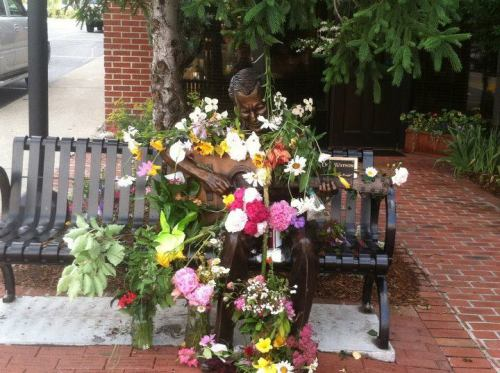 bluegrassnyc:  The scene at Doc Watson's statue in Boone this morning.