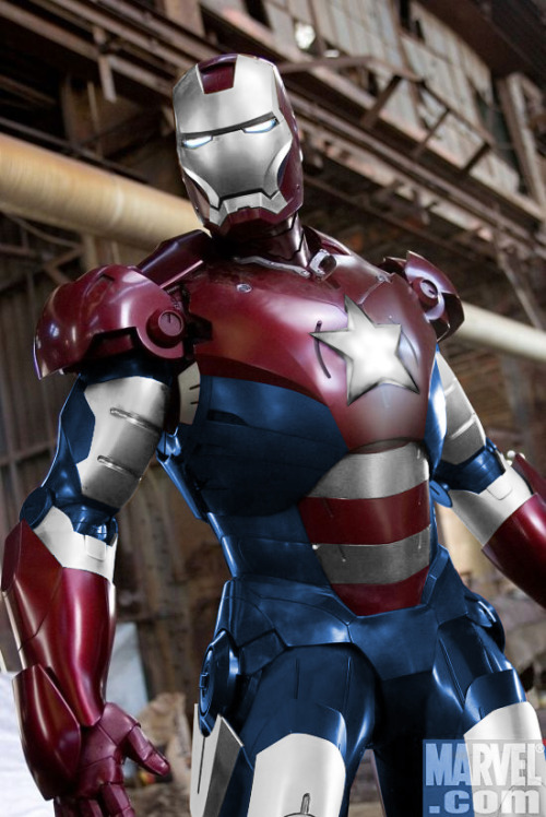 Iron Man 3 - Patriot Armor confirmed!  Salute to the Red, White, and Blue! It's been confirmed that the other man of steel will be donning the patriotic suit created by Norman Osborne (yes, from Spider-man), though (obviously) neither Osborne nor Spider-man will be making an appearance in the movie. Kinda makes you wish we lived in an alternate universe where Marvel owned the film rights to ALL of their characters eh?