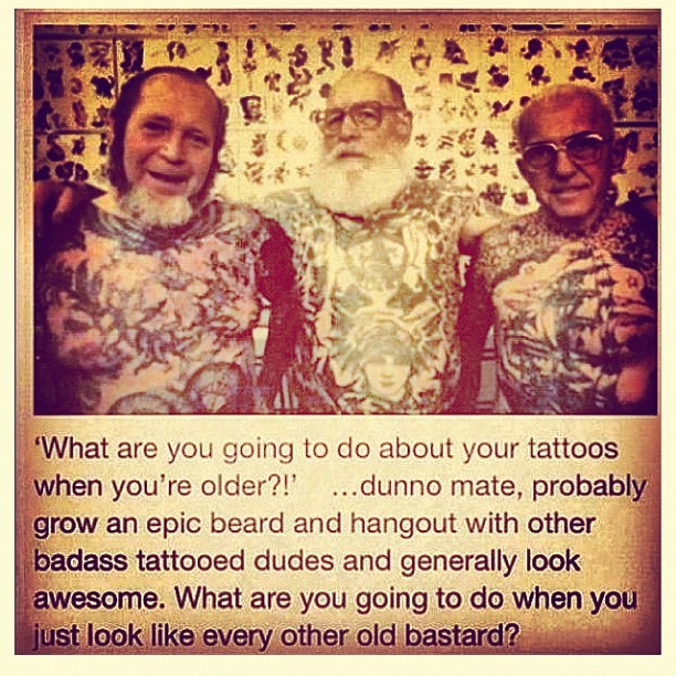 beautifullybrokentobits:  #funny #oldguys #tattoo (Taken with instagram)