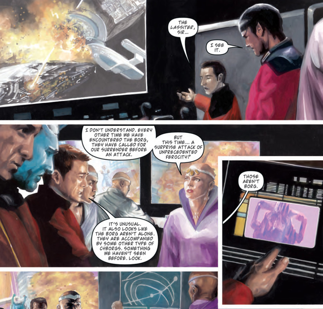 doctorwho:  Preview the first seven pages of the Doctor Who/Star Trek: TNG Crossover Comic Anglophenia has a first look at the first seven pages of the Doctor Who/Star Trek: The Next Generation crossover comic 'Assimilation2'. Click the link to read.  This is needed in my life. Preferably   NOW.