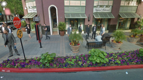 tandcrosschecks:  Guess who got caught on Google street view? Yup, that's the Canucks.  Hanging out in front of Tommy Bahamas, as they (apparently) do. Try it for yourself by googling Santana Row & Olin Ave, San Jose, California.  And read what Fort Nucks had to say about it.  Ugh. My dad shops there. Ladybonerkiller.