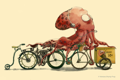 Octopus on Bike in Hurry - Vanessa Fung