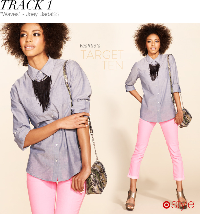 Vashtie's Target 10: Track 1 own it now: chambray. pink. snakeskin purse. wedges.