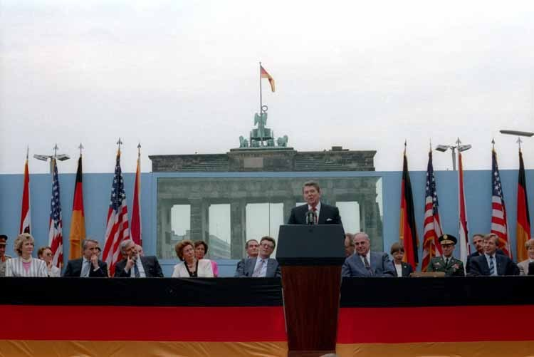 "More on the Berlin Wall: ourpresidents:  ""Mr. Gorbachev, tear down this wall!"" President Ronald Reagan delivered these famous lines at Brandenburg Gate in West Berlin, Germany on June 12, 1987. See the full text of the speech and read more about the event here."