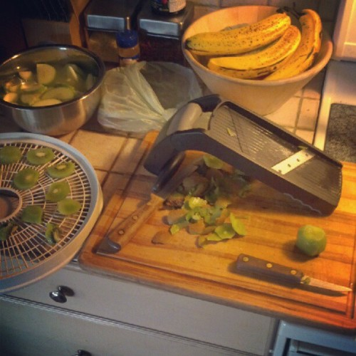 Apple/banana/kiwi chip preparation! #fruit #dehydration (Taken with instagram)