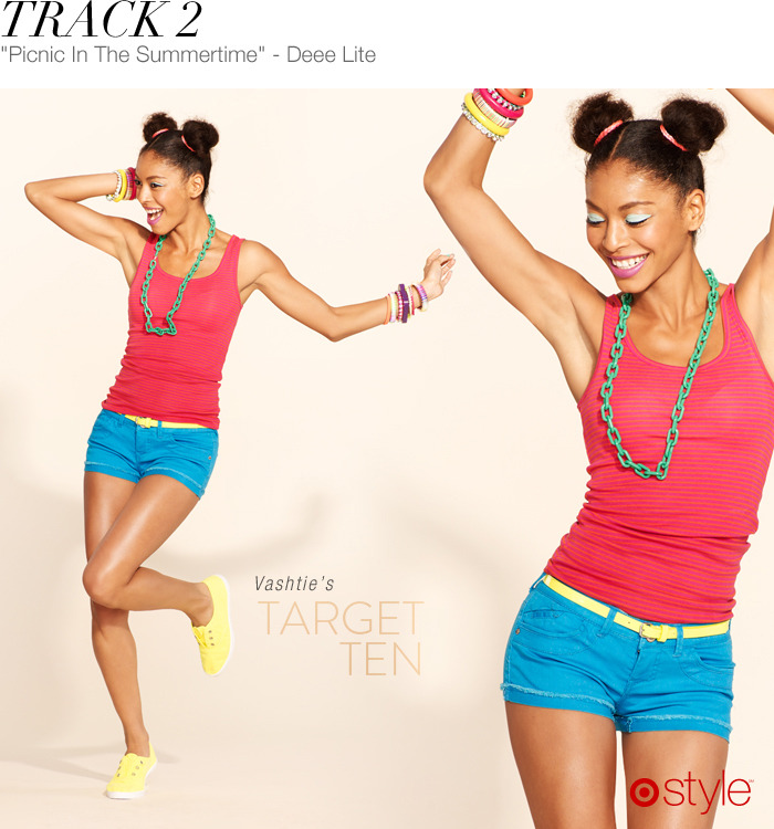 Vashtie's Target 10: Track 2 own it now: tank. shorts w/belt. neon shoes. shop jewerly in store.
