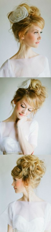 "messy wedding up do. Or maybe for a formal, or prom. Or without the flower for a ""I just rolled out of bed look""."