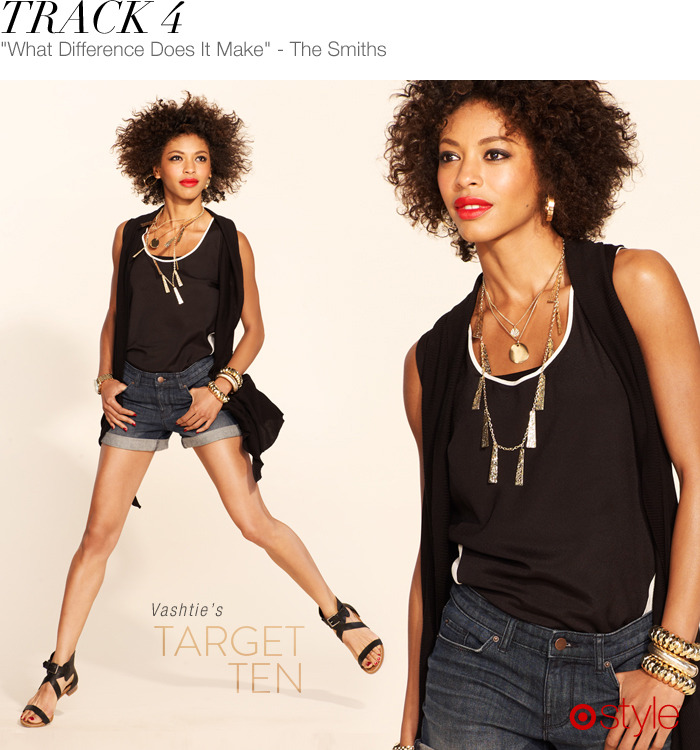 Vashtie's Target 10: Track 4 own it now: top. cutoffs. sandals. watch. shop vest and jewelry in store.
