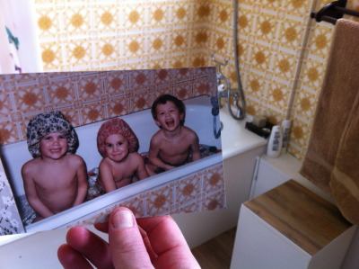 dear-photograph:  Dear Photograph, Over 25 years later, the yellow bathroom tiles and all the fun my sisters and I had still lives on! Ben